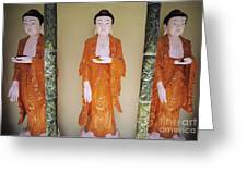 Three Buddha Statues Greeting Card