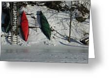 Three Canoes Greeting Card