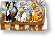 Three Cats On A Fence Greeting Card