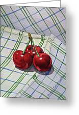 Three Sweet Cherries By Irina Sztukowski Greeting Card