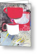 Three Coffee Cups Red And White Greeting Card