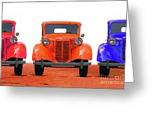 Three Colored Cars Greeting Card