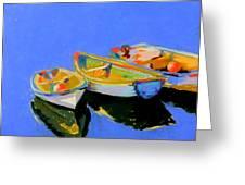 Three Colourful Boats Greeting Card