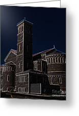 Three Crosses In The Moon Light Greeting Card