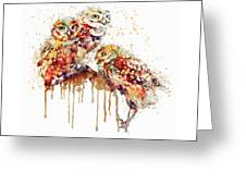 Three Cute Owls Watercolor Greeting Card