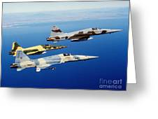 Three F-5e Tiger II Fighter Aircraft Greeting Card