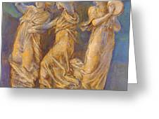Three Female Figures Dancing And Playing Greeting Card