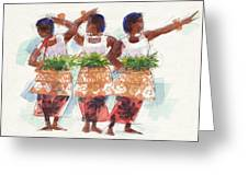 Three Fijian Dancers Greeting Card