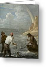 Three Fishermen Casting Their Nets Greeting Card