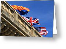 Three Flags At London Bridge Greeting Card