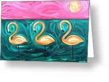 Three Flamingoes Greeting Card