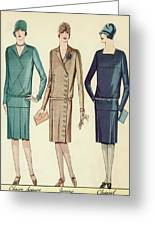 Three Flappers Modelling French Designer Outfits, 1928 Greeting Card