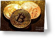 Three Golden Bitcoin Coins On Black Background. Greeting Card