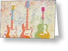 Three Guitars Paint Splatter Greeting Card