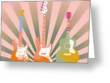 Three Guitars Pop Art Greeting Card