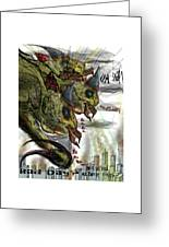 Three Headed Bird Cyborg Monster Attacking A City With Fire And Lasers For T-shirts Greeting Card