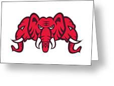Three Headed Elephant Retro Greeting Card