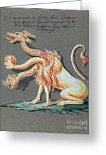 Three Headed Monster, 18th Century Greeting Card