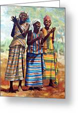 Three Joyful Girls Greeting Card