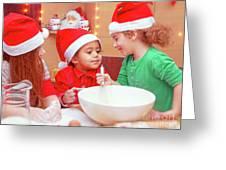 Three Kids Making Christmas Cookies Greeting Card