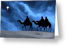 Three Kings Travel By The Star Of Bethlehem - Midnight Greeting Card