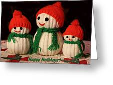 Three Knit Christmas Snowmen Greeting Card