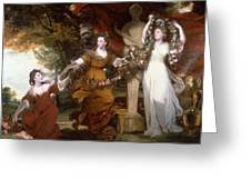 Three Ladies Adorning A Term Of Hymen Greeting Card