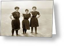 Three Ladies Bathing In Early Bathing Suit On Carmel Beach Early 20th Century. Greeting Card