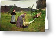 Three Ladies Washing Greeting Card