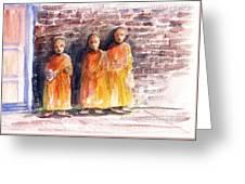 Three Little Monks Greeting Card