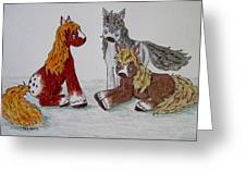 Three Little Ponies Greeting Card