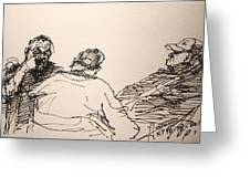 Three Men At Tims Greeting Card