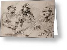 Three Men Chatting Greeting Card