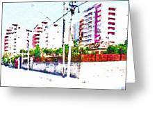 Three Modern Albanian Buildings Greeting Card