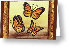 Three Monarch Butterflies Greeting Card