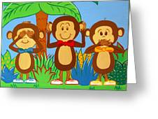 Three Monkeys No Evil Greeting Card