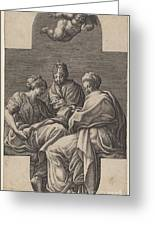 Three Muses And A Gesturing Putto Greeting Card