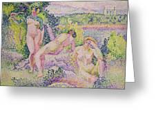 Three Nudes Greeting Card by Henri Edmond Cross