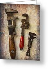 Three Old Worn Wrenches Greeting Card