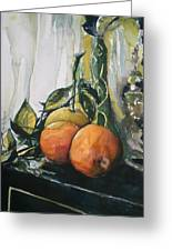 Three Oranges On Black Greeting Card