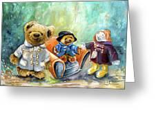 Three Paddingtons At Newby Hall Greeting Card