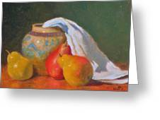 Three Pears With Persian Vase Greeting Card