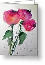 Three Pink Flowers 2 Greeting Card