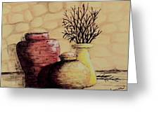 Three Pots And Twigs Greeting Card