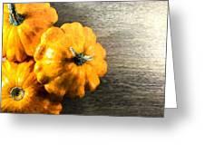 Three Pumpkins On Wood Greeting Card