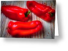 Three Red Bell Peppers Greeting Card