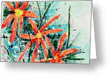 Three Red Flowers Greeting Card by Teddy Campagna