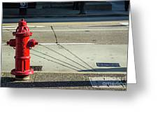 Three Red Lines Greeting Card