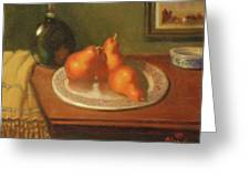 Three Red Pears And Cognac Greeting Card