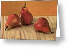 Three Red Pears Greeting Card by Raimonda Jatkeviciute-Kasparaviciene